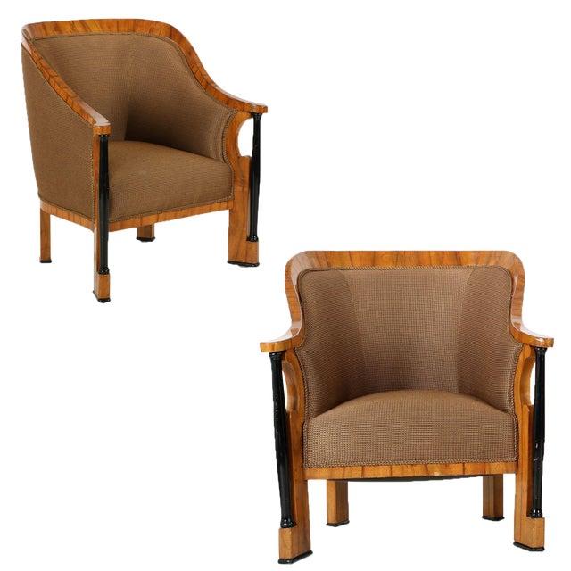Pair of Ebonized Biedermeier Tub Arm Chairs, Circa 1825 For Sale