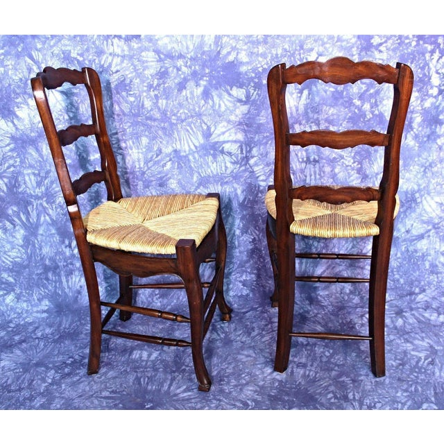 French Country Rush Seat Counter Chairs - A Pair - Image 3 of 8