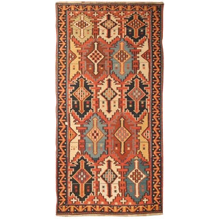 Exceptional Antique Mid 19th Century Caucasian Kilim For Sale