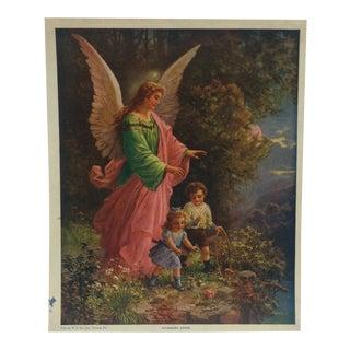 "Vintage Color Print, ""Guardian Angel"" -- w.c. Company Tyrone, Pa For Sale"