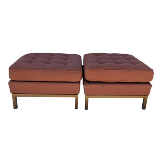 1980s Vintage Florence Knoll Ottomans- A Pair For Sale