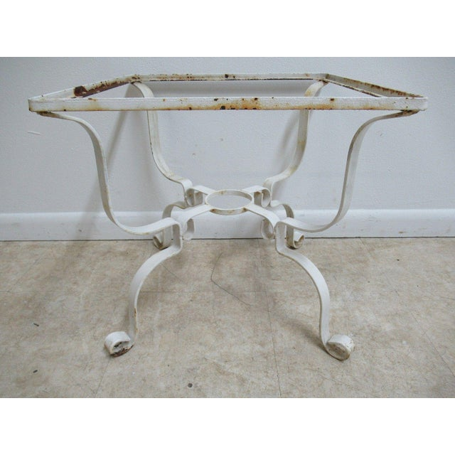 Vintage French White Outdoor Square Patio End Table For Sale - Image 11 of 11