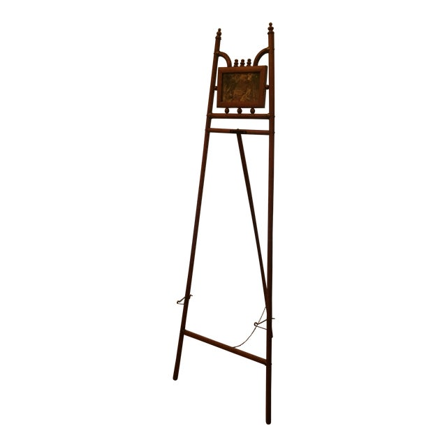 Standing Floor Model Vintage Bamboo and Brass Easel For Sale