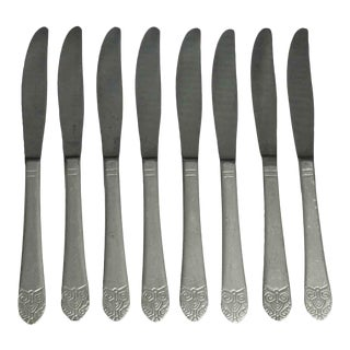 Salvaged Waldorf Art Deco Butter Knife Set of 8 For Sale