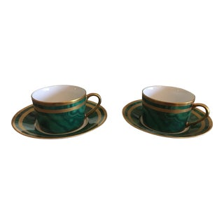 Christian Dior Gaudron Malachite Green With Gold Trim Cups & Saucers - Set of 4