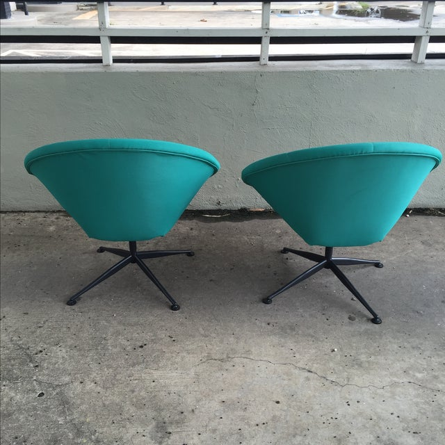 Turquoise Saucer Swivel Chairs - A Pair - Image 6 of 9