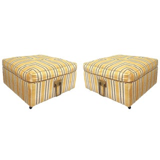 Pair of 1960s Square Ottomans in Casters and Solid Brass Handles For Sale