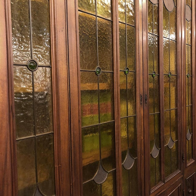 Grand 19th Century Italian Renaissance Stained Glass Bookcase For Sale - Image 11 of 13