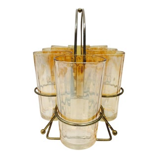 Vintage Cocktail Glasses in Brass Caddy-Set of 8