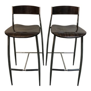 Design Within Reach Walnut Bar Stools - a Pair