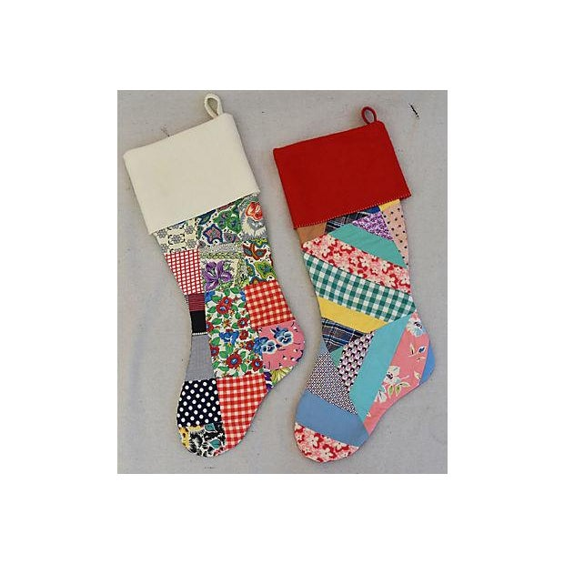 "Large 22"" Custom Tailored Patchwork Quilt Christmas Stockings - Pair For Sale - Image 4 of 7"