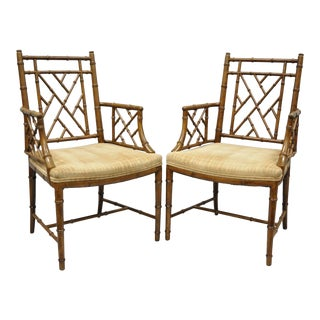Chinese Chippendale Hollywood Regency Faux Bamboo Fretwork Armchairs - a Pair For Sale