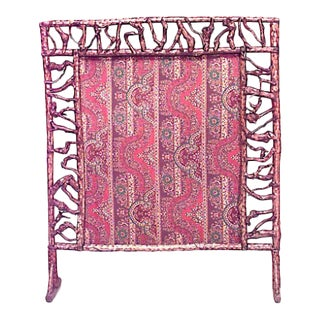 American Rustic Adirondack Style Twig Filigree Framed Fire Screen For Sale