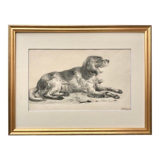 Original Antique Dutch Drawing a Dog in Landscape by Netsher 1833 For Sale