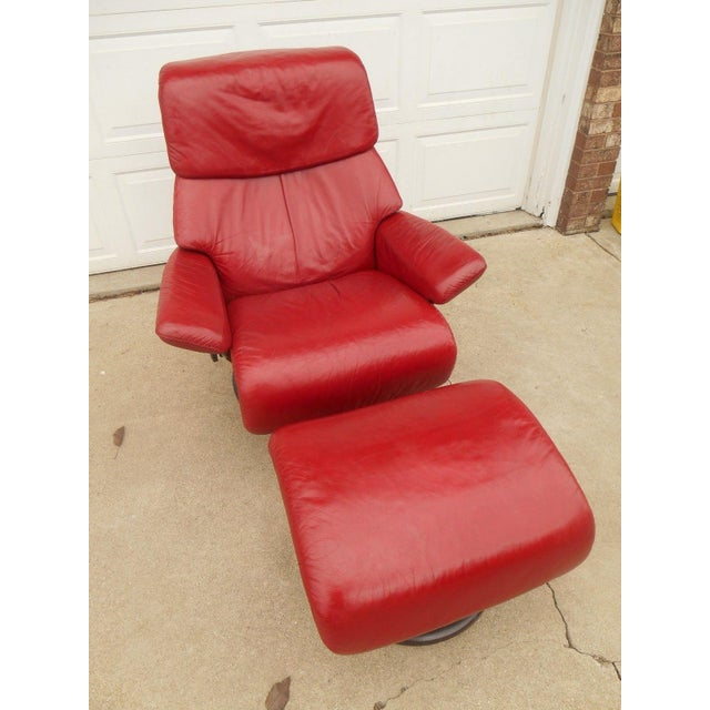 Ekornes Stressless Dream Red Leather Chair With Ottoman For Sale - Image 5 of 11
