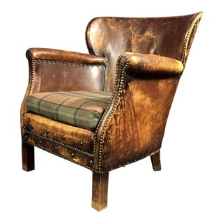 1930s Danish Leather Club Chair, Oskar Hansen, Copenhagen For Sale