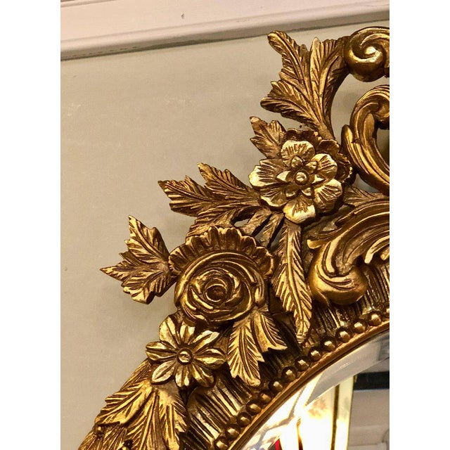 Belle Epoque Fine Antique French Oval Gilt Wooden Wall or Console Mirror For Sale - Image 3 of 9