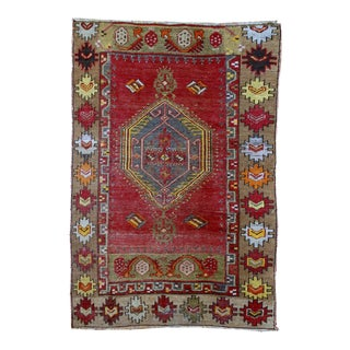 1920s Antique Turkish Anatolian Hand Made Rug - 3′1″ × 4′7″ For Sale