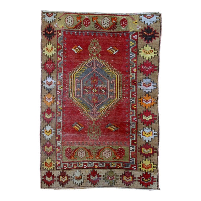 1920s Antique Turkish Anatolian Hand Made Rug - 3′1″ × 4′7″ - Image 1 of 7