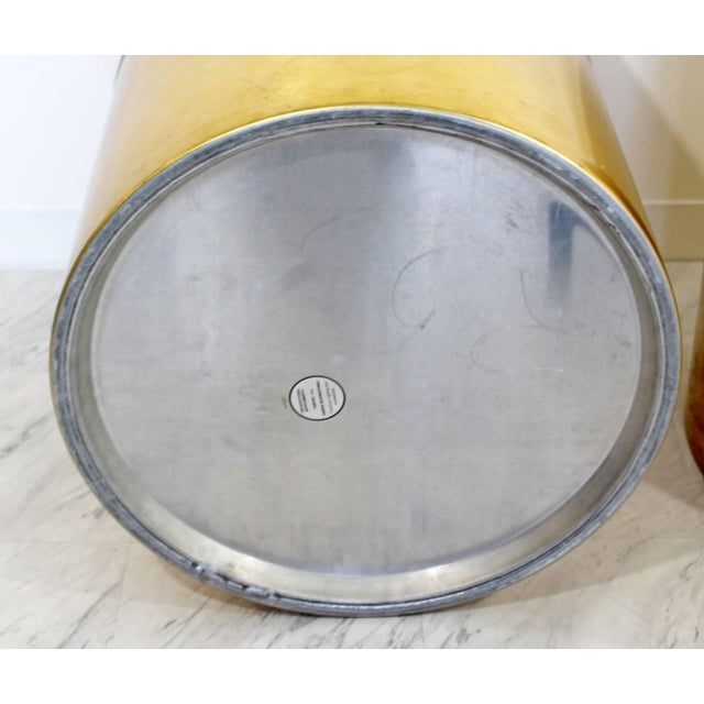 Gold Mid-Century Modern Pair of Brass Round Drum Side Tables Paul Mayen Habitat For Sale - Image 8 of 11