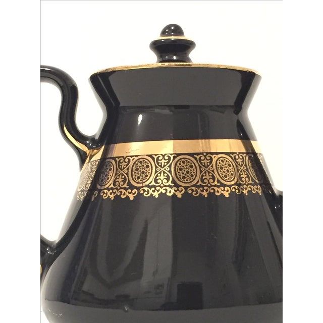 "Black and Gold Hollywood Regency ""Hall Usa"" Teapot - Image 4 of 9"