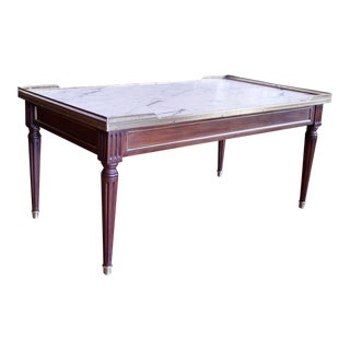 20th Century Louis XVI Style Marble Top Walnut Coffee Table For Sale