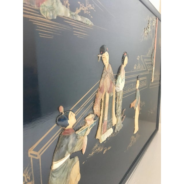 Black Chinoiserie Wall Art With Semi Precious Stones For Sale - Image 8 of 9
