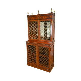 Theodore Alexander Althorp Regency Flame Mahogany Grilled Door Liquor Cabinet For Sale