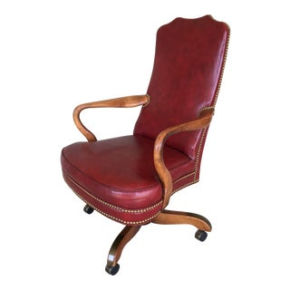 Mid 20th Century Oxblood Red Leather Swivel Nailhead Accented Desk Chair