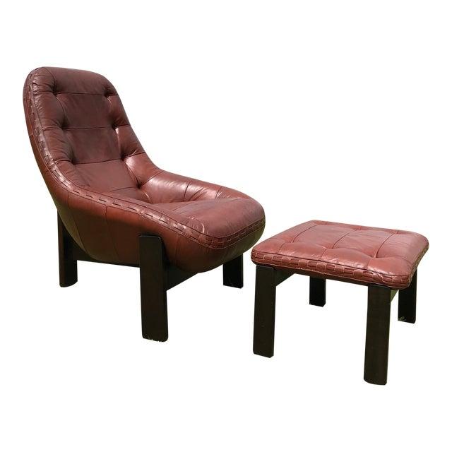 Rare Jean Gillon Rosewood Leather Lounge Chair Ottoman Probel Brazilian For Sale