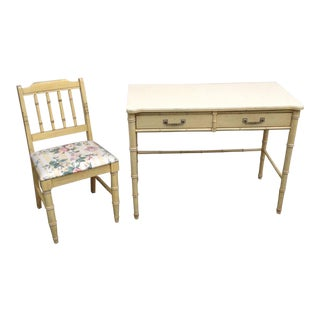 Henry Link Faux Bamboo Bali Hai Writing Desk & Chair Original For Sale