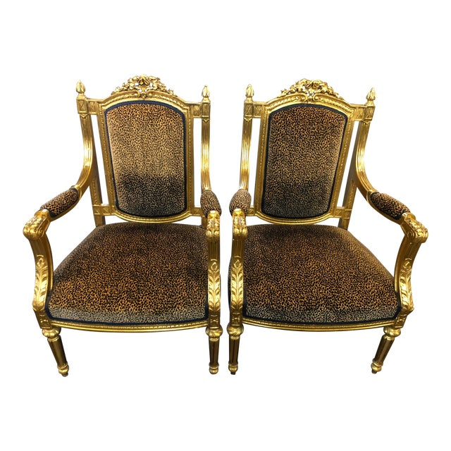 French Louis Gold Gilt Chairs - a Pair For Sale