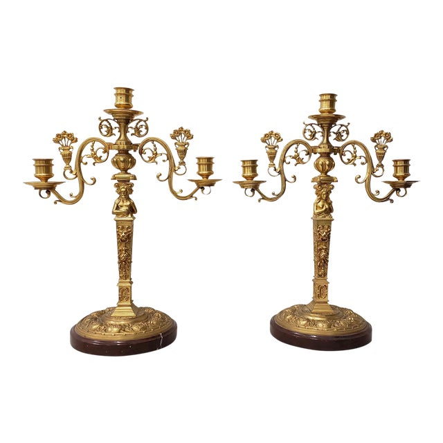 Remarkable Pair of 19th Century Matching French Gilded Bronze Candelabras - A Pair For Sale