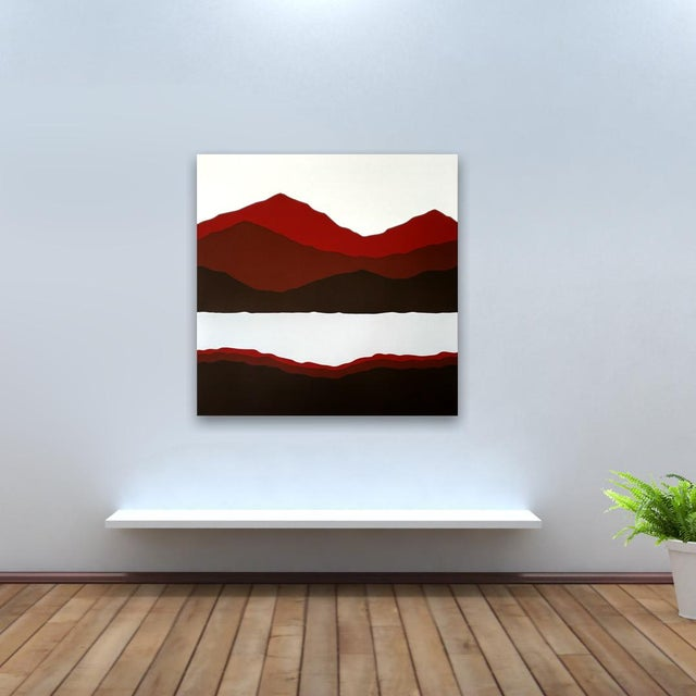 Modern Vintage 1981 Mountain & Lake Silk-Screen Print For Sale - Image 3 of 6