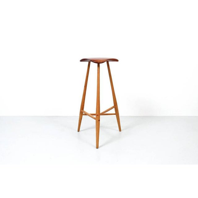 Studio furniture barstool by Horace B. Hartshaw. Hartshaw was Wharton Esherick's studio assistant. This stool is identical...