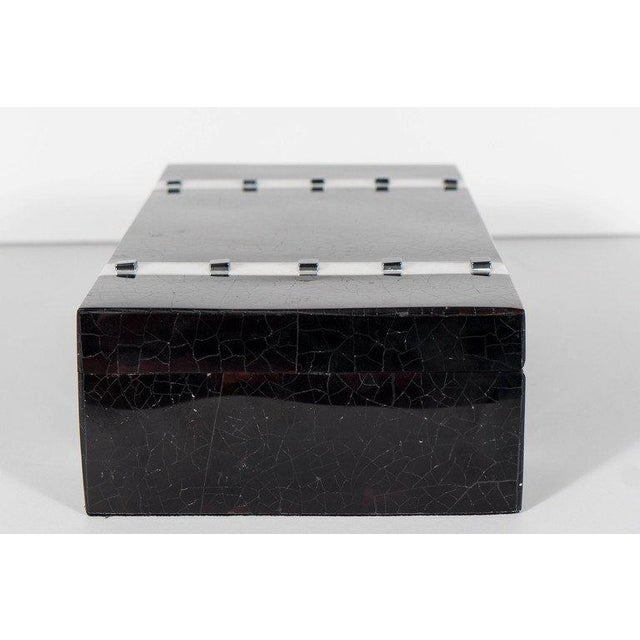 Black Lacquer Cracqueleur Box with Kabibi Inlay and Art Deco Square Motif For Sale In New York - Image 6 of 11