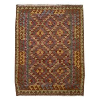Southwestern Multicolored Small Geometric Hand Woven Carpet - 3' 4 X 4' 9 For Sale