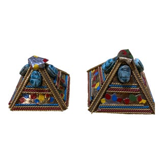 Vintage Late 20th Century Decorative Metal and Stone Pyramid Figures - a Pair For Sale