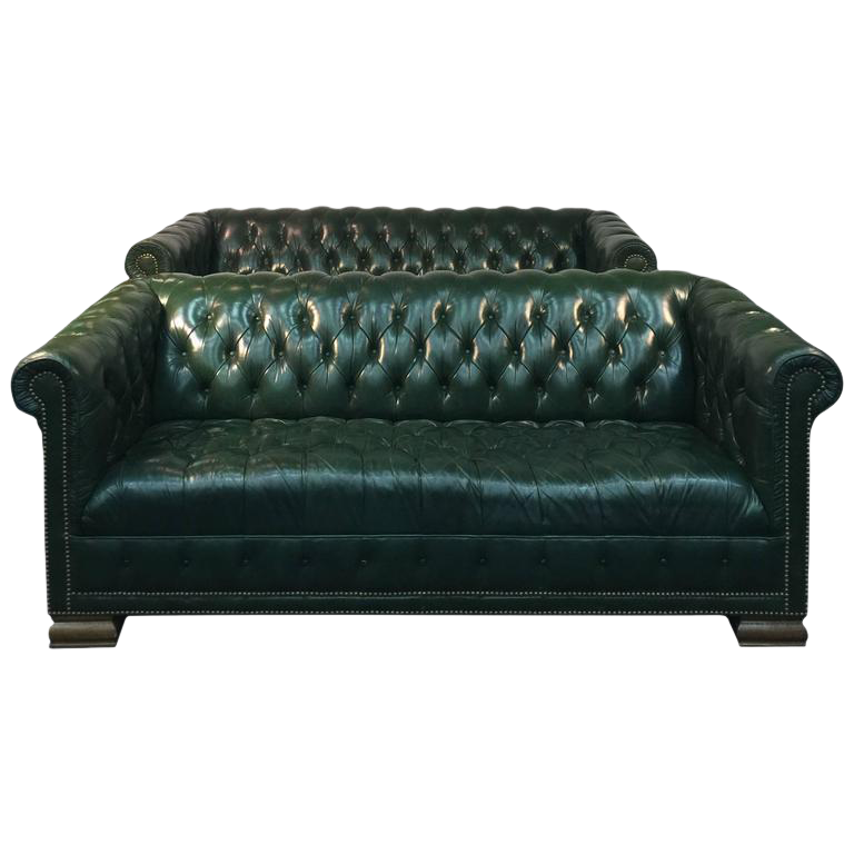 Incredible Rare Pair Of Vintage Chesterfield Sofas In Hunter Green