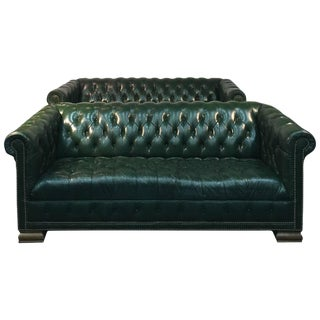Rare Pair of Vintage Chesterfield Sofas in Hunter Green with Nailhead Detail For Sale