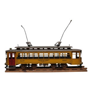 Early 20th Century Handmade Metal Streetcar Model Signed, circa 1945