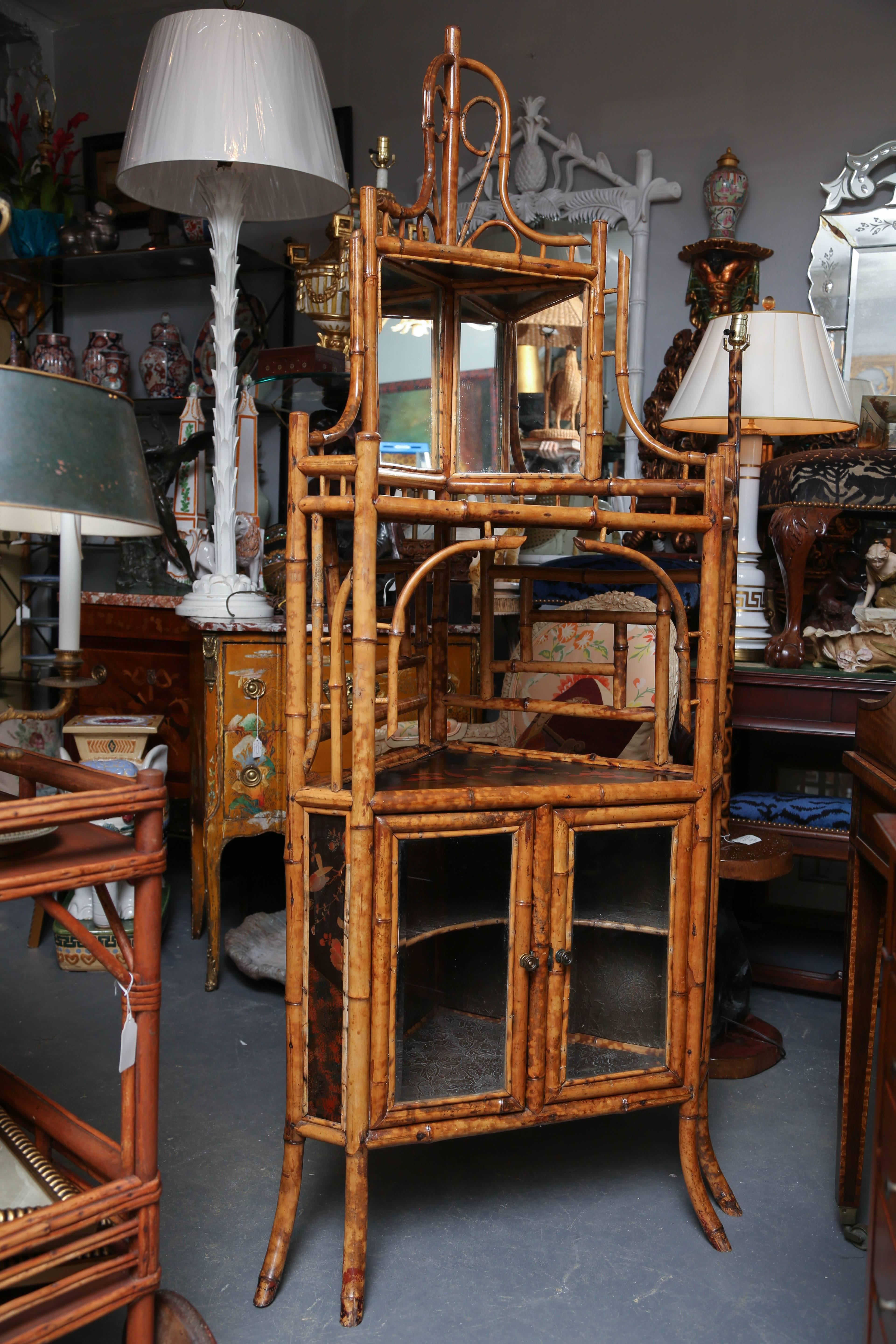 Late 19th Century Superb 19th Century English Bamboo Corner Cabinet For  Sale   Image 5 Of
