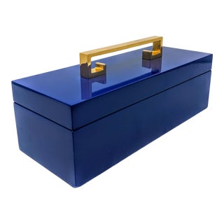 Regency Navy Blue Enamel Finish Decorative Box With Gold Handle For Sale