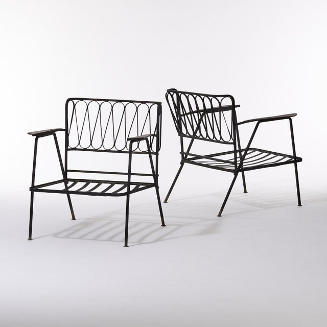 Vintage Mid Century Maurizio Tempestini for Salterini Black Wrought Iron Ribbon Lounge Chairs- a Pair For Sale - Image 9 of 9