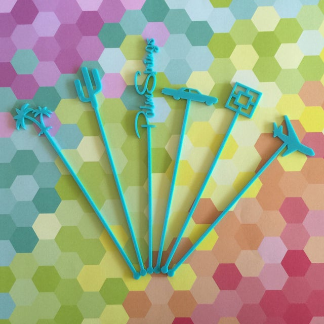 Coral Palm Springs Party Drink Stirrers - S/6 - Image 3 of 7