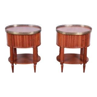 Baker Furniture French Regency Cherry and Brass Tambour Door Nightstands, Pair For Sale