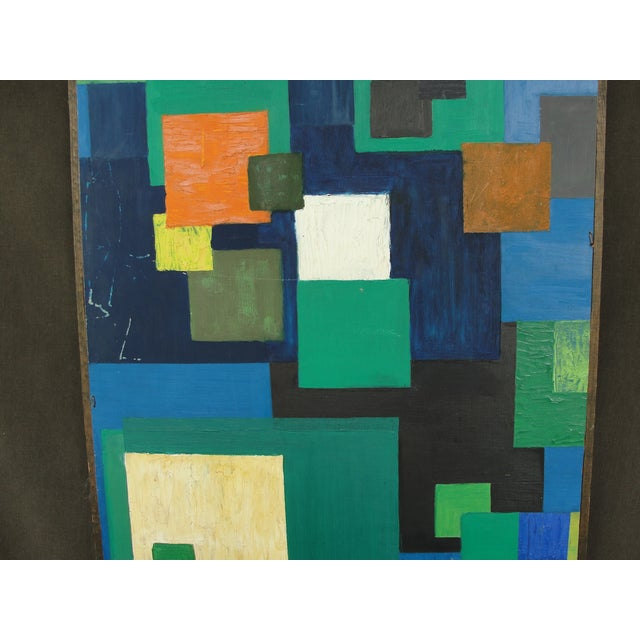 Geometric Abstract Oil on Masonite - Image 3 of 6
