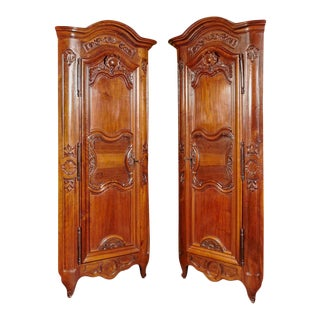 18th Century Louis XV Walnut Carved Doors Corner Cabinets From Lyon - a Pair For Sale