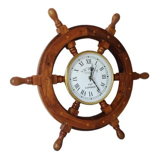 Ships Time Nautical Handcrafted Wooden Ship Wheel Clock For Sale