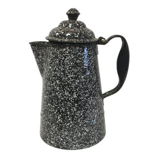 Antique Brown Granite Spackle Coffee Pot